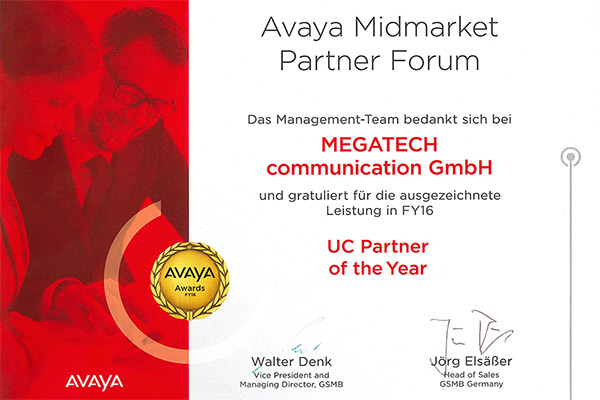 Avaya Partner Awards FY 16